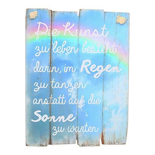 """AmaCasa Holzschild Holz-Bild Spruch Motivation 30x40cm- """"Die Kunst zu Leben besteht Darin, im Regen zu tanzen anstatt auf die Sonne zu warten"""" Wandbild Dekoschild Vintage"""