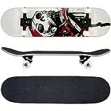 FunTomia® Skateboard mit ABEC-11 Kugellager und Rillen-Profil Rollen (Rollenhärte 100A) aus 100% 7-lagigem kanadischem Ahornholz (Es stehen verschiedene Farbdesigns zur auswahl) (Weiß Totenkopf)