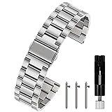 Berfine Silber 22mm Uhrenarmbänder Schnellverschluss Edelstahl Uhrarmband mit Faltschließe Metall Uhr Armband Uhren Bands