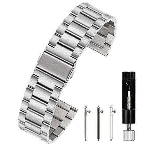 Berfine Unisex Edelstahl Schnellspanner Uhrenarmband 20mm Silber