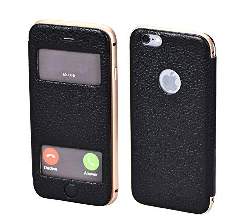 PhoneStar Étui en cuir réel Apple iPhone 6s, iPhone 6 Flip Cover Case Cover en cuir usiné CNC en aluminium métal pare-chocs et la fenêtre en noir
