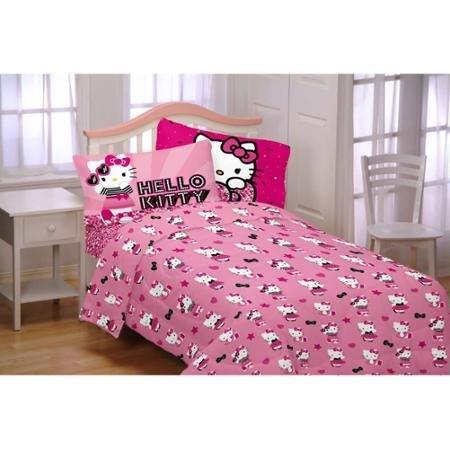 Twin Set Kitty Sheet Hello (Hello Kitty 3-Piece Flannel Twin Sheet Set by Hello Kitty)