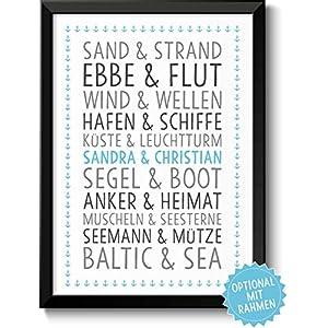 DU & ICH Baltic Sea Bild mit Namen personalisiert optional mit Holz-Rahmen Geschenk Geschenkidee Paare beste Freunde…