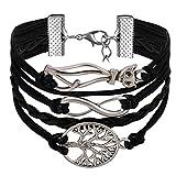 JewelryWe Bijoux Bracelet Artisanal Rétro Charme Chat Amour Infini Arbre de Vie Multi-Rangs Réglable Cuir Alliage Fantaisie pour Homme et Femme Couleur Noir