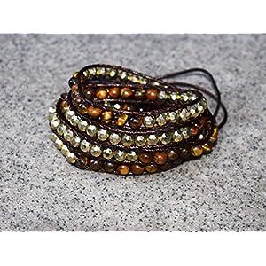 juanlowe Wickelarmband Tigerauge Perlen, Perlenarmband, Edelsteinschmuck, Steine Leder Armband für Damen