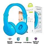 Kabellose Bluetooth Kopfhörer für Kinder - BuddyPhones Play | Verstellbare Lautstärkebegrenzung zu 75, 85, 94 dB | Faltbar mit 14h Batterielaufzeit | Optionales Kabel zum Mithören | Blau