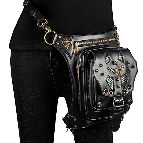 YLYWCG Steampunk Hip Bag Hüfttasche, Vintage Gothic Retro Rock Messenger Bag Hüfttasche Handtasche, Für Männer, Frauen Motorrad Fahren Herren/Herren Tasche