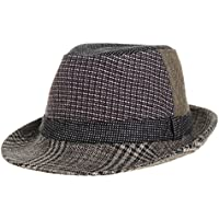 WITHMOONS Cappello di feltro bombetta Mens Fedora Hat Check Dot Tweed Patchwork Trilby LD6447