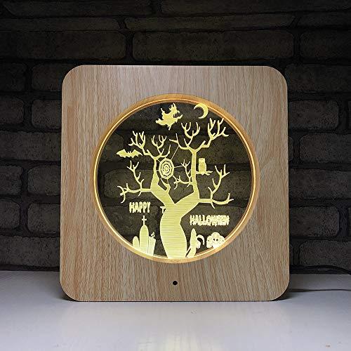 Hexe Baum LED USB 3D Schreibtisch Tischlampe 7 Farbwechsel Holzmaserung Berührungsschalter 3D Nachtlicht Halloween Party Decor Als Geschenk Spielzeug (Wie Für Hexe Eine Halloween Aussehen)
