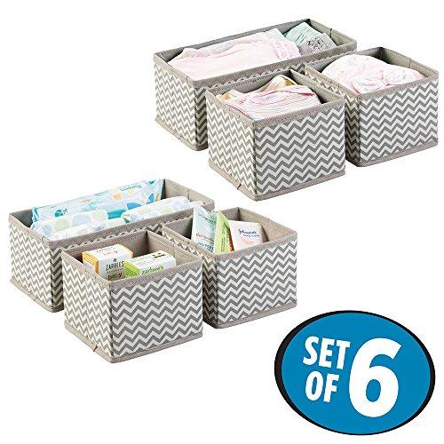 mDesign Aufbewahrungsbox 6er-Set – 6 Organizer in zwei Größen – Universelles Aufbewahrungssystem für Zubehör, z.B. Windeln, Tücher, Utensilien – Farbe: Taupe / Natur