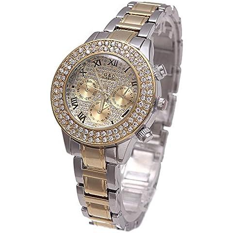 Sheli pequeño de la mujer romana romanos 2tono oro diamantes Decoración de cronógrafo reloj de pulsera con fecha, día,
