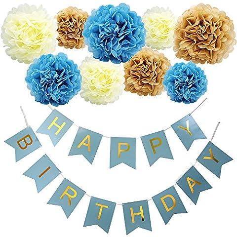KUNGYO Happy Birthday Girlande Set,Alles Gute zum Geburtstag Party Banner und Set von 9 Tissue Papier Pom Poms Blumen für Geburtstagsfeier Dekorationen Blau Banner Gold (Blumen Pappteller)