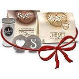 Senseo Geschenkset, 4-tlg., Café Latte & Cappuccino Choco + Kakaostreuer & Schablone