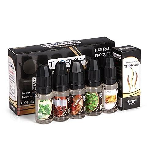 Sans Nicotine - (5x 10ml) eliquide, THORVAP® avec Menthe &