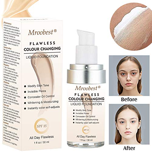 Liquid Foundation, Flawless Colour Changing Liquid Foundation, Long-Lasting Makeup Base Warm Skin Tone Nude Face Moisturizing Liquid Cover Concealer - 30ML - Foundation Make-up Wasserdichte
