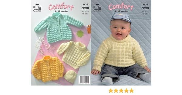a5272c828f5728 King Cole Comfort Aran Knitting Pattern Babies Knitted Coat Cardigan Sweater    Hat 3135  Amazon.co.uk  Kitchen   Home