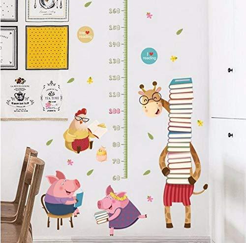 Zybnb Kinder Höhe Maßnahme Wandaufkleber Für Kinderzimmer 3D Lebendige Schwein Giraffe Wachstum Chart Whiteboard Wandtattoos Kunst Poster Wandbilder