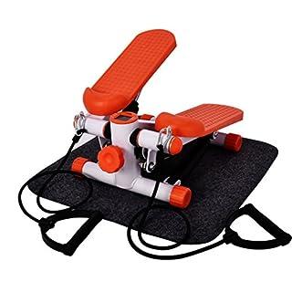 Homgrace Up-Down Stepper Heimtrainer Mini-Stepper Zuhause Fitness Aerobic Ausdauertraining Stepper mit LCD Trainingscomputer & Expander-Bänder & Matte (Orange)