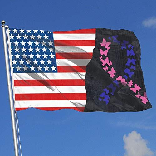 N/A Schmetterlings-Band-Schilddrüsenkrebs Awaren-Fahnen-Flaggen-lustige Feier-Flaggen-Frühlings-Sommer-Garten-Flagge 3 X5 Haus-Fahnen-Flagge -