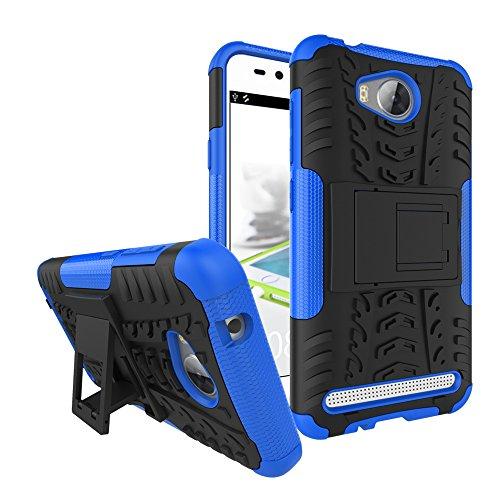 Sunrive Für Huawei Y3 II / Y3 2, Hülle Tasche Schutzhülle Etui Case Cover Hybride Silikon Stoßfest Handyhülle Hüllen Zwei-Schichte Armor Design schlagfesten Ständer Slim Fall(blau)