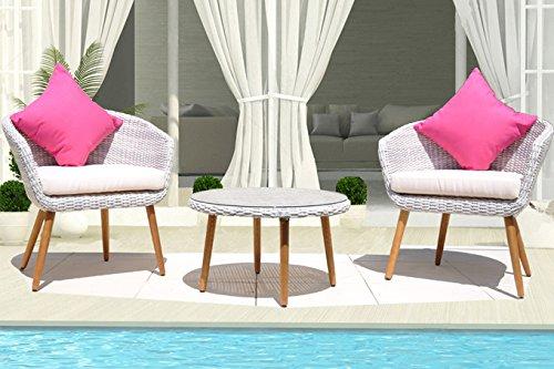 Salon de jardin balcon petit terrasse résine tressée ensemble 2 fauteuils + 1 table basse