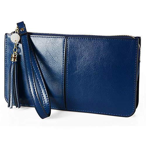 Befen Weiches Leder-Reißverschluss Tasche Organizer mit Kreditkarten-Halter/-Tasche mit Handschlaufe (Navy Blue Wristlet)