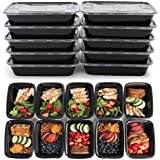 ARROYO 10 Pack Meal Prep 1 Compartment Food Storage Containers For Cooking And Food Storage, Microwavable, Stackable, Dishwasher And Freezer Safe Black