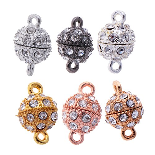 MagiDeal 6 Pieces Bling Rhinestone Pave Ball Magnetic Beads Clasp Strong Jewelry Findings for Bracelet Necklace Jewelry Making  available at amazon for Rs.385