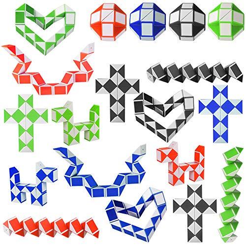 Kulannder 20 Pack 24 Blöcke Magische Schlangenwürfel, Mini Speed   Cubes, Snake Twist Puzzle Spielzeug für Kinder Party Tasche Füllstoffe, Party Favors, zufällige Farbe - Kinder-blöcke