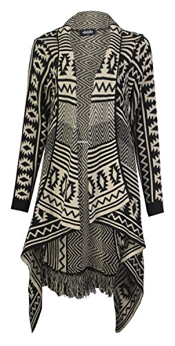 Womens Aztec Tribal Stripe Diamond Print Frill Knitted Waterfall Cardigan (Damen Aztec Cardigan)