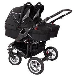 Zekiwa Zwillingskinderwagen Sport DUO, mit Wannen und separaten Sportwagenaufsätzen, moderne Lufträder vorn und hinten, um 360 ° lenkbares Rad vorn, Dessin: Black