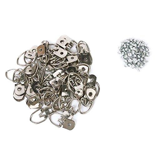 OUNONA 50 Stück D Ring Bilderhaken Wandtellerhalter Kleiderbügel Einlochmontage mit Schrauben