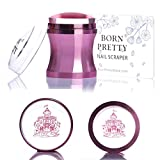 Born Pretty Nail Art Stamper Clear Silicone Jelly Marshmallow Head Metal Handle with Cap and Scraper Manicure Print Tool