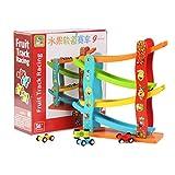 JAGENIE Holzrampe Racer Race Inertial SlidingTrack Racer Mit 4 Mini Cars Set Kinder Kleinkind Spielzeug Geschenke