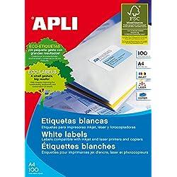 Apli 002698 - Pack de 100 etiquetas para impresora (210 x 297 mm, A4), color blanco