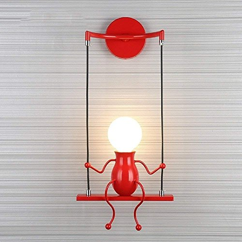 Simple Poupée De Mode Balançoire Enfants Applique Murale Moderne Salon Chambre Créative De Chevet Mur Lumière Vacances/Cadeau De Mariage (Rouge)