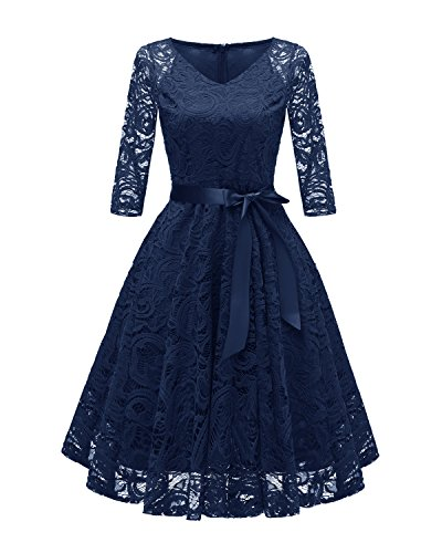 Caissen Damen A-Linie V-Ausschnitt Langarm Spitze Brautjungfer Kleid Fit & Flare Party Cocktailkleid mit Gürtel Marineblau Größe XXL (Dress Fit-n-flare)
