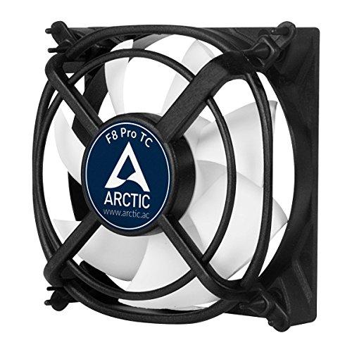 ARCTIC F8 Pro TC - Temperaturgesteuerter 80 mm Gehäuselüfter mit Vibrationsabsorption | Temperatursensor reguliert RPM | patentierte Lüfterhalter