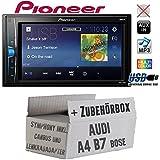 Audi A4 B7 inkl. CanBus Lenkradfernbedienung Symphony Bose 2DIN - Autoradio Radio Pioneer MVH-A100V - 2DIN USB Touch TFT - Einbauzubehör - Einbauset