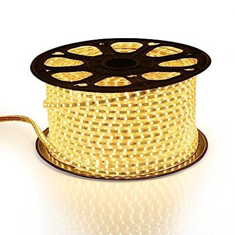GreenSun Flexible 30M 5050 Warmweiß Led Strip Lichterschlauch Lichtschlauch Lichterkette Schlauch Leiste 60leds / m Wasserdichte Weihnachts Innen Aussen Streifen Licht mit 23 Tasten Fernbedienung