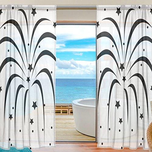DEYYA Benutzerdefinierte Fireworks Schwarz Fenster Sheer Curtain Panels 55