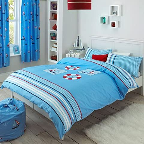 Nautical Blue Sail Boat Stripe Check Double Duvet Quilt Cover Bedding EXCLUSIVE by Creative Living