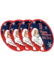 """Boston Red Sox MLB Holiday 10"""" Plastic Plate - 4 Pack"""