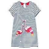 OHBABYKA Little Girls Casual Cotton Short Sleeve Cartoon Dress (4T, Flamingos)