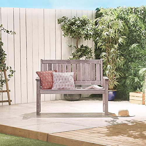 VonHaus Grey Garden Bench | 2 Seater Antique/Distressed Effect | Modern Patio Outdoor Seating Furniture