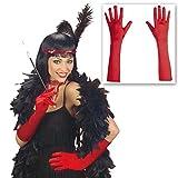 Satin Handschuhe rot Lange Damenhandschuhe Charleston Stoffhandschuhe 20er Jahre Fasching Teufelin Vampirin Satinhandschuhe Halloween Handschuh Paar Mottoparty Accessoire Karneval Kostüm Zubehör