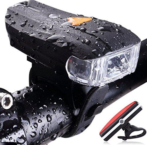 Fahrrad Licht Scheinwerfer + Rücklicht USB Wiederaufladbare Fahrrad LED-Leuchten Kit 400 Wiederaufladbare LED Fahrrad Licht Set-High Lumen Vorne und Hinten Hinten Radfahren Sicherheitsbeleuchtung