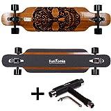 FunTomia® Longboard Skateboard Board Skaten Cruiser Komplettboard mit Mach1® High Speed Kugellager T-Tool