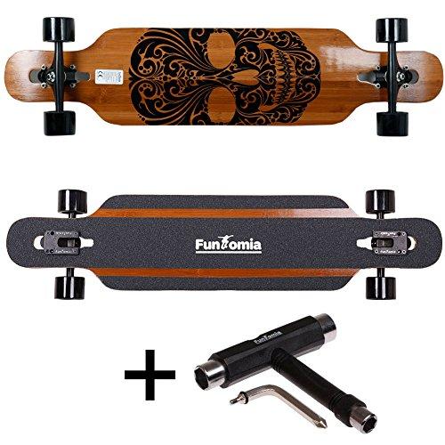 FunTomia® Longboard Skateboard Board Skaten Cruiser Komplettboard mit Mach1® High Speed Kugellager T-Tool (Modell Freerider Bambus Fiberglas - Farbe Mexican Skull + T-Tool)