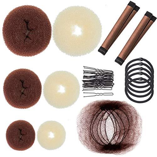 38 Stück Haarknoten Makers Set Donut Hair Dutt Maker Chignon Maker Set mit 2 Stück French Twist, 5 Haarnetze, 5 elastischen Haargummis und 20 Pins Haarstyling Zubehör für Frisuren Tanz